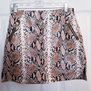 Sfera Mini Skirt Snake Print  Faux Leather Small